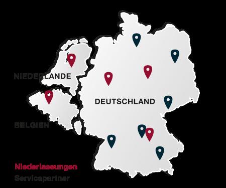 Mietkälte Standorte Delta-Temp Deutschland