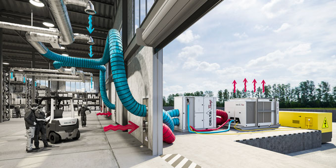 Luchtslangen aangesloten op ventilatienetwerk voor airco en koeling